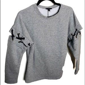 Woman's small sweatshirt. Unusual sleeves.  Gray.